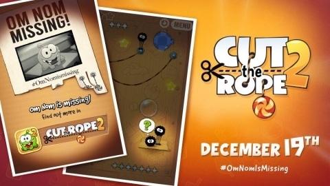 Cut the Rope 2 oyunu 19 Aralık'ta iOS platformuna geliyor