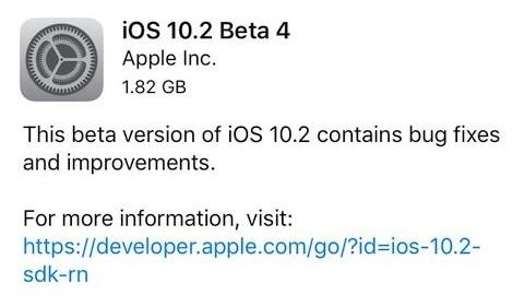 iOS 10.2 beta 4 yayımlandı