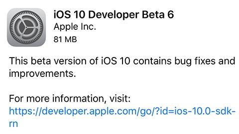 iOS 10 beta 6 yayımlandı