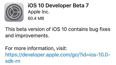 iOS 10 beta 7 çıktı