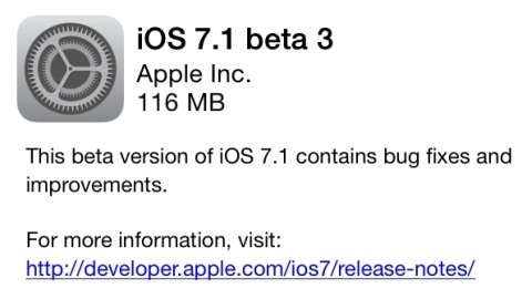 iOS 7.1 beta 3 dağıtılmaya başladı