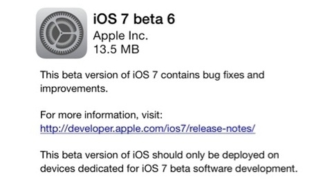 Apple, iOS 7'nin altıncı deneme sürümünü yayımladı