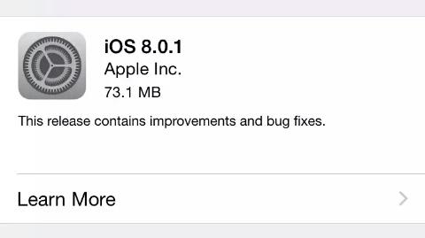 iOS 8.0.1 güncellemesi çıktı