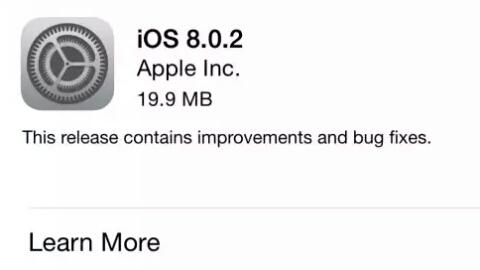 iOS 8.0.2 versiyonlu yazılım güncellemesi yayımlandı