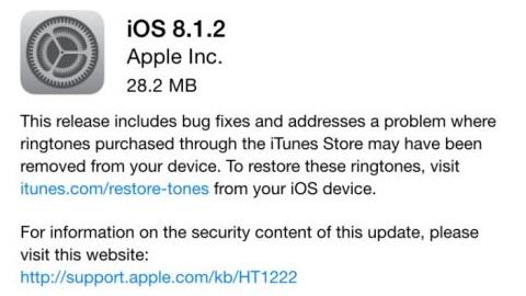 iOS 8.1.2 güncellemesi yayımlandı