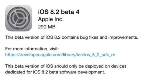 iOS 8.2 beta 4 yayımlandı, Apple Watch uygulaması doğrulandı