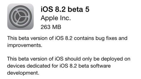 iOS 8.2 beta 5 sürümü yayımlandı