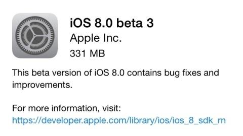 iOS 8 beta 3 sürümü yayımlandı