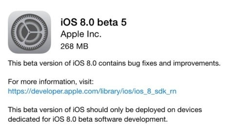 iOS 8 beta 5 sürümü dağıtılmaya başladı