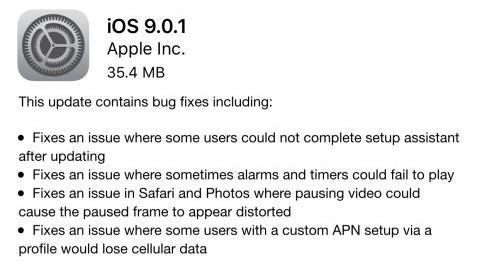 iOS 9.0.1 güncellemesi yayımlandı, iOS 9.1 beta 2 çıktı