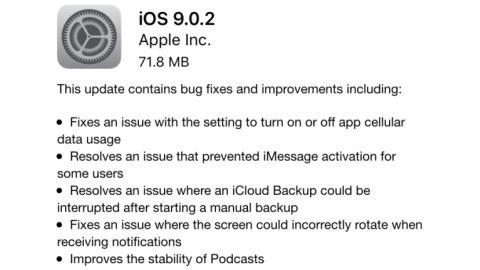 iOS 9.0.2 güncellemesi çıktı