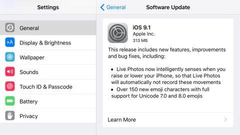 iOS 9.1 güncellemesi resmen yayımlandı