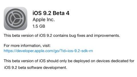 iOS 9.2 beta 4 güncellemesi yayımlandı