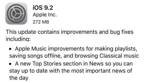 iOS 9.2 güncellemesi resmen yayımlandı