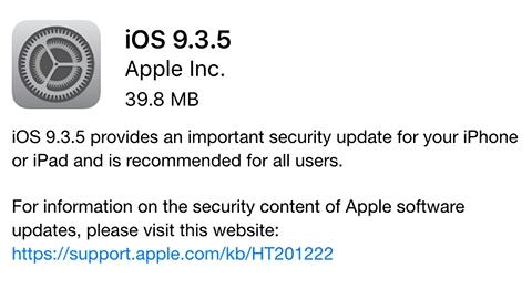 iOS 9.3.5 güvenlik güncellemesi yayımlandı