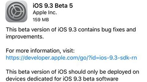 iOS 9.3 beta 5 güncellemesi çıktı