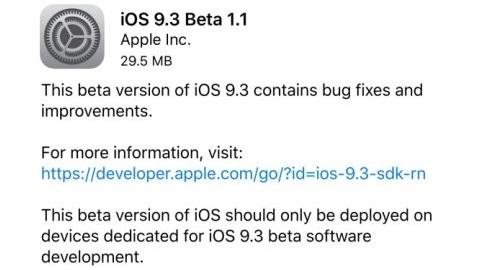 iOS 9.3 genel beta dağıtımı başladı, iOS 9.3 beta 1.1 çıktı