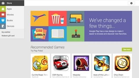 Google Play Store'nin internet sitesi yenilendi