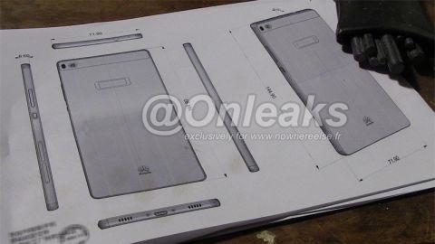 6,6 milimetrelik Huawei Ascend P8'den şematik görüntüleri