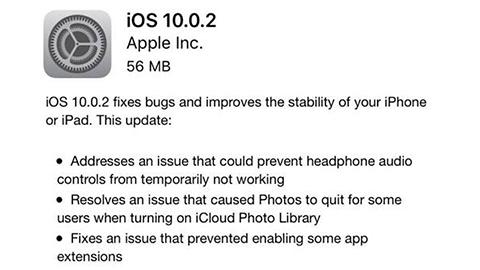 iOS 10.0.2 güncellemesi yayımlandı