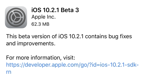 iOS 10.2.1 beta 3 yayımlandı