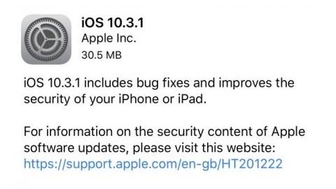 iOS 10.3.1 güncellemesi yayımlandı