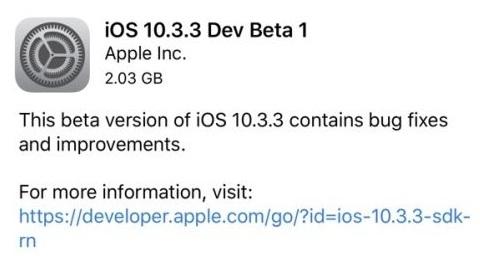 iOS 10.3.3 güncellemesi için ilk beta sürümü dağıtılmaya başladı