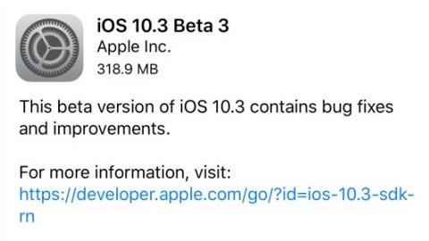 iOS 10.3 beta 3 yayımlandı