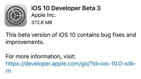 iOS 10 beta 3 yayımlandı