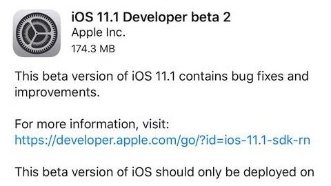 iOS 11.1 beta 2 yayımlandı