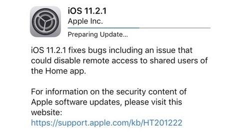 iOS 11.2.1 güncellemesi yayımlandı