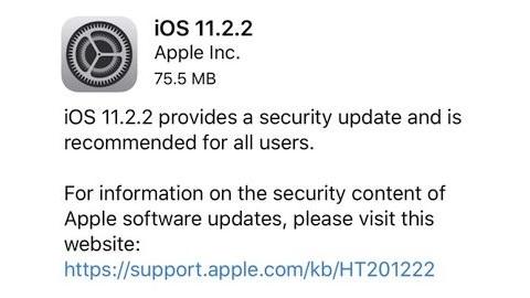 iOS 11.2.2 güncellemesi yayımlandı