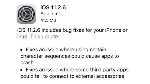 iOS 11.2.6 güncellemesi yayımlandı