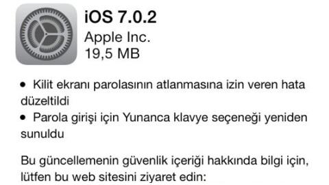 iOS 7.0.2 güncellemesi dağıtılmaya başladı
