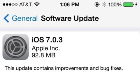 iOS 7.0.3 birçok hatayı giderecek düzenlemelerle birlikte dağıtılmaya başladı
