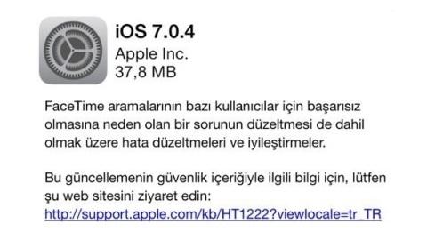 iOS 7.0.4 güncellemesi çıktı