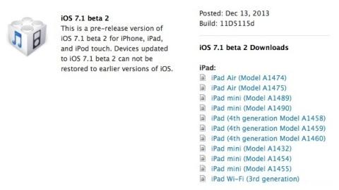 iOS 7.1 beta 2 resmen dağıtıma sunuldu
