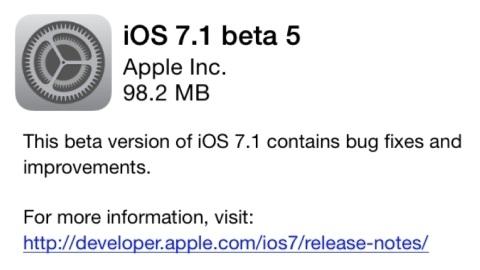 iOS 7.1 beta 5'in dağıtımı başladı