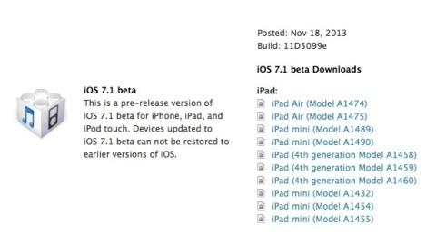 iOS 7.1'in ilk deneme sürümü geliştiriciler için indirmeye sunuldu