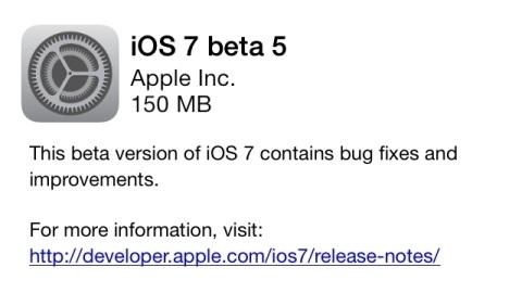 iOS 7'nin beşinci deneme sürümü dağıtılmaya başladı