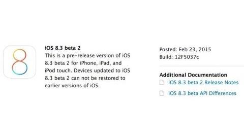 iOS 8.3 beta 2 dağıtılmaya başladı