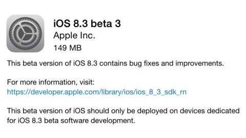 iOS 8.3 beta 3 yayımlandı