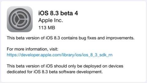iOS 8.3 beta 4 güncellemesi dağıtılmaya başladı