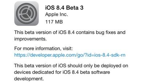 iOS 8.4 beta 3 güncellemesi yayımlandı