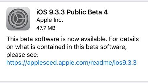 iOS 9.3.3 beta 4 yayımlandı