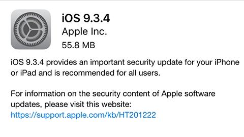 iOS 9.3.4 güvenlik güncellemesi yayımlandı