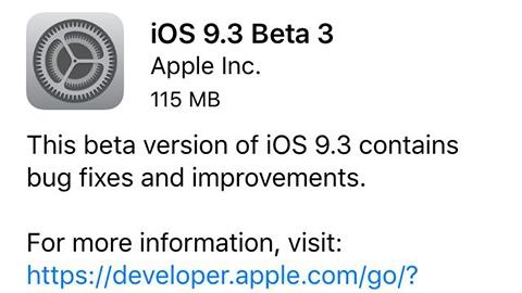 iOS 9.3 beta 3 yayımlandı