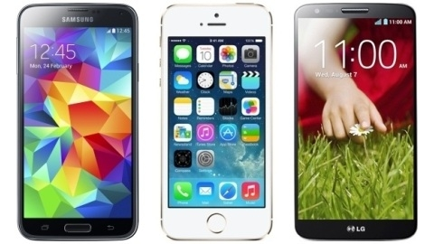 Karşılaştırma: Galaxy S5, iPhone 5s ve LG G2