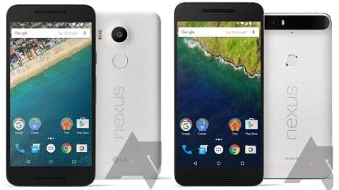 Nexus 5X ve Nexus 6P'nin renk seçenekleri belli oldu