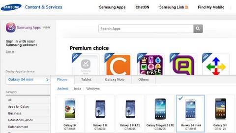 Samsung Galaxy S4 Mini Samsung App'de resmileşti